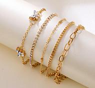 abordables -Bijoux coréens point transfrontalier diamant papillon chaîne de cuivre chaîne de griffe de diamant à la main multi-couche 5 ensemble de combinaison de bracelets de cinq pièces