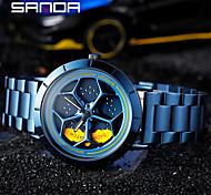 abordables -nouvelle montre de personnalité de temps de course de sanda montre pour hommes à quartz montre pour hommes ceinture en acier étudiant montre rotative étanche