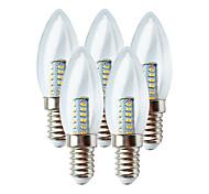 abordables -bougies led 5pcs 3w 100 lm e14 c35 25 perles led smd 3014200-240 v