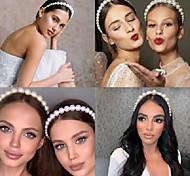 abordables -Bandeau de perles européennes et américaines princesse tempérament pression coiffure coiffure super fée net accessoires de cheveux de mariée rouge bandeau rétro femmes