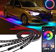 economico -otolampara 4 pz 100 w auto underglow luce flessibile striscia led luci sottoscocca telecomando / controllo app auto led neon light rgb lampada decorativa