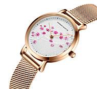 economico -hanna martin movimento giapponese orologio cinturino in acciaio intrecciato impermeabile orologio da donna in oro rosa prugna fiore temperamento letterario