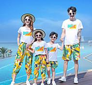 abordables -Regard de la famille Enfants Adulte Lots de Vêtements pour Famille 2 Pièces Ensemble de Vêtements Vacances Festival Feuille tropicale Lettre Manches Courtes Arc-en-ciel Eté basique