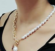 economico -gioielli transfrontalieri europei e americani moda collana di perle imitazione a forma speciale retro barocco geometrico ritratto tag catena clavicola femminile