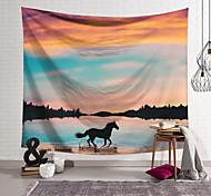abordables -Tapisserie murale art décor couverture rideau suspendu maison chambre salon décoration polyester coucher de soleil nuages cheval lac eau courante