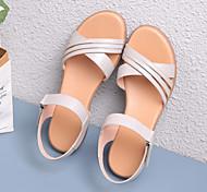economico -sandali mamma estate in pelle tacco medio scarpe da donna di mezza età, comoda suola morbida, fibbia con una sola parola tacco spesso antiscivolo scarpe in pelle di grandi dimensioni da donna