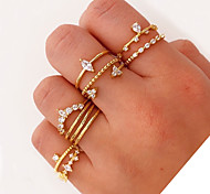 economico -gioielli coreani transfrontalieri nuovo ins anello femminile nuovo diamante anello di perle oro, argento, oro rosa colore misto 11 pezzi set