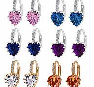 economico -nuovi prodotti orecchini di moda europei e americani orecchini di zirconi aaa aliexpress vendita calda all'ingrosso di gioielli multicolore cuore di pesca