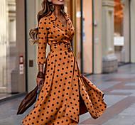 economico -Per donna Tubino Vestito maxi Cachi Manica a 3/4 A pois Autunno Colletto Elegante Casuale 2021 S M L XL XXL 3XL / Taglie forti