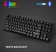 economico -tastiera meccanica rk987 87 tasti retroilluminazione a led bianchi tastiera da gioco tenkeyless tastiera usb / bluetooth senza fili gaming / ufficio