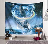 abordables -Tapisserie murale art décor couverture rideau suspendu maison chambre salon décoration polyester dauphin sautant dans un anneau d'eau arc-en-ciel