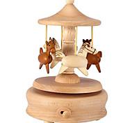 abordables -Boîte à musique Boîte à musique carrousel Merry-Go-Round Horse 1 pcs Cadeau Décoration d'intérieur En bois Pour Enfant Adulte Garçons et filles