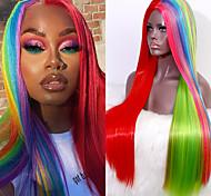 economico -parrucca sintetica color arcobaleno per capelli parrucca sintetica diritta a buon mercato parrucca sintetica resistente al calore per donne nere