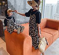 abordables -maman et moi famille correspondant tenues robe pour enfants nouvelle mère fille parent enfant robe floral faux deux pièces fronde robe mère robe style étranger