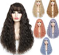 abordables -perruque synthétique bouclée avec frange vague perruques de cheveux longs perruque cosplay résistante à la chaleur pour les femmes noires afro-américain 6 couleurs