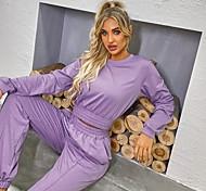 economico -Per donna Essenziale Moda città Liscio Da mare Casual / quotidiano Set due pezzi Felpa Tuta da ginnastica loungewear Pantaloni da jogger Top