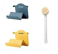 abordables -1pcs douche à cheveux doux à long manche et brosse à récurer le dos 2pcs support de savon à deux couches en matériau PP non perforé (couleur aléatoire)