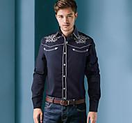 economico -Per uomo Camicia Pop art Con ricami Top Bianco Nero Blu marino