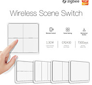 economico -tuya smart zigbee wireless adesivo gratuito interruttore a pulsante scena pannello a 4 vie impostato per scene di automazione, collegamento a un tasto