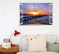 abordables -3D fausse fenêtre nouvelle pâte murale bord de mer coucher de soleil artiste peint à la main salon couloir décoration de fond peut être enlevé autocollants