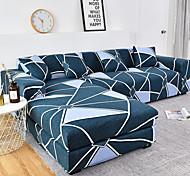 abordables -1 pc géométrique lignes bleues housse de canapé housse de canapé élastique au salon canapé pour animaux de compagnie housse de protection inclinable housse de canapé