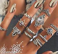 economico -transfrontaliero europeo e americano esclusivamente per anello per dito indice boemia pietra preziosa anello totem geometrico intagliato retrò set di 12 pezzi
