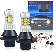 abordables -2 pièces / ensemble P21W BA15S BAU15S PY21W 7440 W21W WY21W T20 1156S25 30LED feux de jour clignotant double mode DRL LED lumières externes