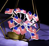 abordables -LED guirlande lumineuse étoiles et rayures drapeau national pour le jour de l'indépendance 3m 30leds fête décoration de mariage drapeau forme lumières ornement de la maison sans batterie