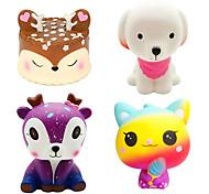 abordables -4 pièces jumbo squishies jouets à montée lente kawaii cerf gâteau rose chien galaxie cerf crème chat squishys pack pour enfants anti-stress jouet et cotillons
