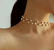 economico -50660 nuova catena di clavicola transfrontaliera europea e americana collana di perle da sposa semplice e creativa retrò collana da sposa damigella d'onore