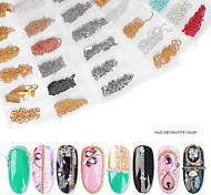 economico -3 pezzi / set set decorazione unghie nail art catena netta rosso gioielli colore nappa decorazione unghie spessore misto catena a sfera in acciaio stile punk