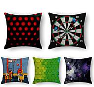 economico -fodera per cuscino 5pc lino morbido decorativo quadrato copriletto federa federa per divano camera da letto 45 x 45 cm (18 x 18 pollici) qualità superiore lavabile in lavatrice normale griglia