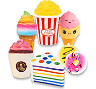 economico -set di 7 squishy jumbo che riprende forma lentamente - torta triangolo arcobaleno, frappuccino, popcorn, ciambelle x2& gelato x2, giocattoli squishy kawaii o adesivi per giocattoli antistress