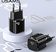 economico -USAMS 20 W Potenza di uscita USB C Caricatore PD Caricatore veloce Caricatore del telefono Caricabatterie portatile Caricabatteria di Muro QC 3.0 Ricarica veloce CE Per Xiaomi Cellulare HUAWEI Apple