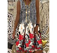 abordables -Souhaitez aliexpress ebay 2021 été nouveau positionnement impression sans manches mi-longueur a-ligne gilet robe