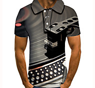abordables -Homme Polo 3D effet Imprimés Photos Instrument de musique Bouton bas Manches Courtes Plein Air Hauts Simple Mode Frais Gris