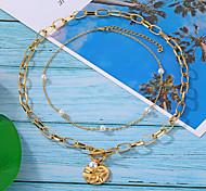 economico -gioielli coreani catena transfrontaliera collana di perle a doppio strato collana europea e americana di vendita calda retrò semplice catena clavicola tutto-fiammifero