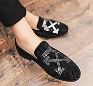 abordables -coiffeur mode version coréenne du net célébrité vibrato petites chaussures en cuir tendance personnalité pois chaussures une pédale all-match strass chaussures pour hommes