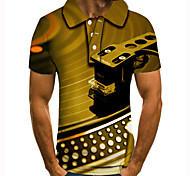 abordables -Homme Polo 3D effet Imprimés Photos Instrument de musique Bouton bas Manches Courtes Plein Air Hauts Simple Mode Frais Jaune