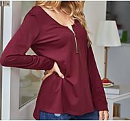 abordables -LITB Basic T-shirt à demi-patte pour femmes à manches longues pull creux au dos de haute qualité chemisier de couleur unie haut quotidien