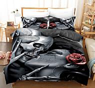 abordables -ensemble de housse de couette halloween, image d'os de crâne de baiser squelette humain heureux halloween, ensemble de literie décoratif 2/3 pièces avec 1 ou 2 taies d'oreiller, reine king size, noir