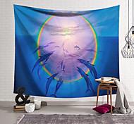 abordables -Tapisserie murale art décor couverture rideau suspendu maison chambre salon décoration polyester dauphins se rassemblent au soleil halo