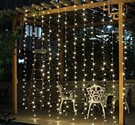 abordables -solaire led guirlande lumineuse extérieure guirlande pour fenêtre décoration de lumière de noël 3x3m pour patio jardin rideau lampe sur le toit