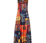 economico -abito tubino taglie forti da donna maxi abito lungo rosso arancione stampa senza maniche stampa patchwork primavera estate scollo a v vintage 2021 xl xxl 3xl 4xl 5xl