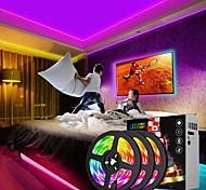 abordables -bandes lumineuses à LED étanches 15m (3x5m) rgb tiktok lumières flexibles 5050 smd 450 leds ir 44 contrôleur de clé avec kit d'installation kit adaptateur 12v 6a