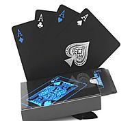 abordables -54pcs nouveau étanche pvc pur magie noire boîte-emballé en plastique cartes à jouer ensemble deck poker classique tours de magie outil
