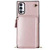 economico -telefono Custodia Per OPPO Per retro Custodia in pelle Reno4 Z 5G A portafoglio Porta-carte di credito Resistente agli urti Tinta unica pelle sintetica