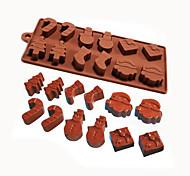 economico -Stampo in silicone pupazzo di neve alberi di natale biscotti al cioccolato stampo in silicone fondente decorazione torta fai da te