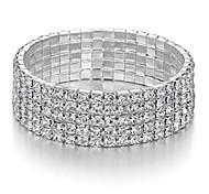 economico -gioielli yumei Braccialetto elasticizzato con strass a 5 fili Braccialetto da tennis da sposa scintillante color argento