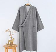 economico -Accappatoio da uomo in cotone di alta qualità, manica 7/4 sottile, kimono, abiti estivi